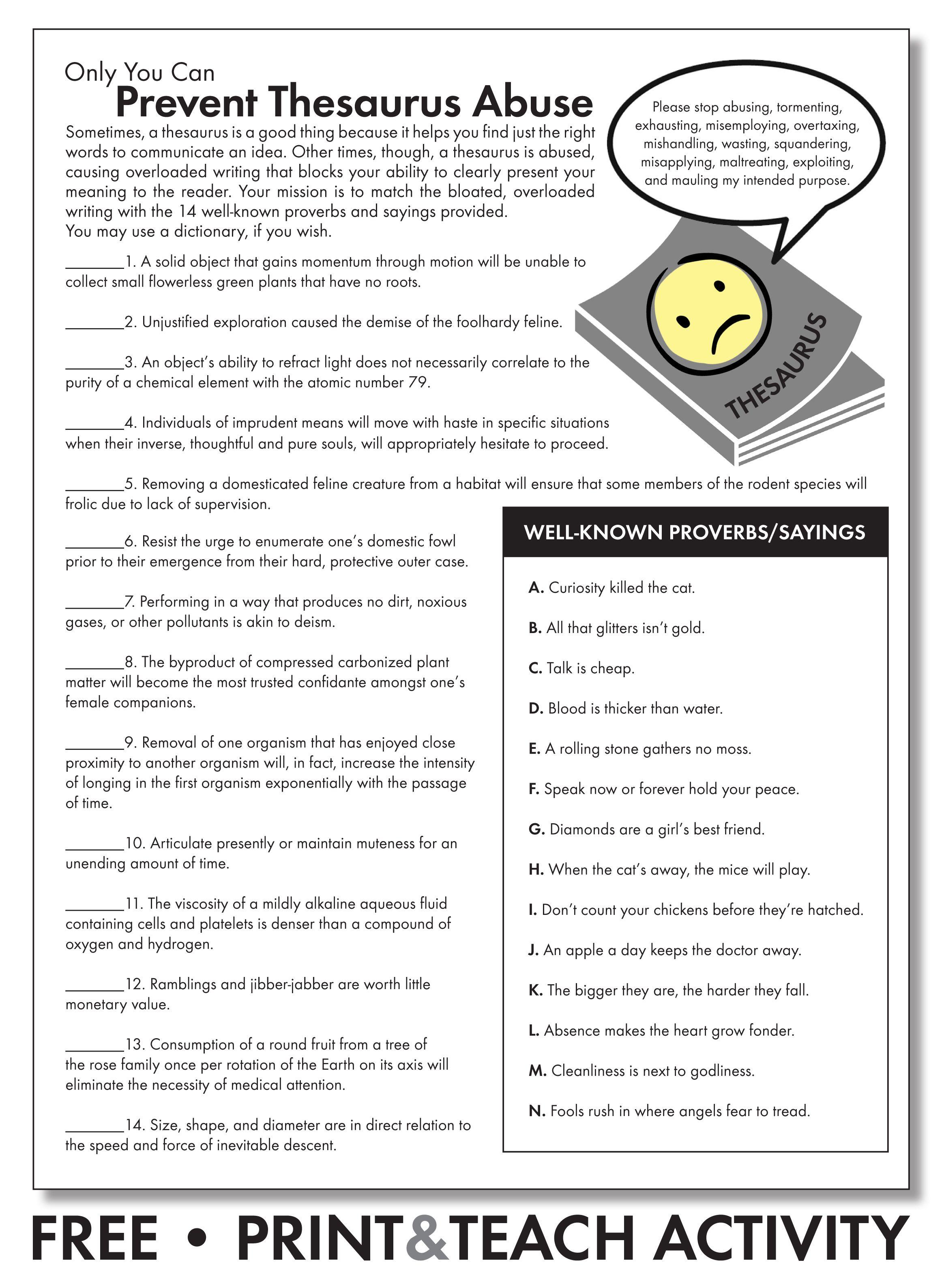 FREE worksheet to emphasize careful word choice. Grades 7-12  #middleschoolEnglish #highschoolEnglish #…   Thesaurus activities [ 3176 x 2328 Pixel ]