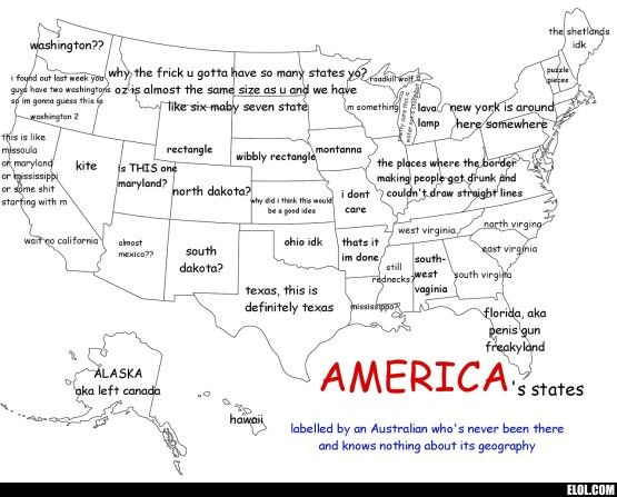 America (as labeled by an Australian) | Funny! | Funny maps ...