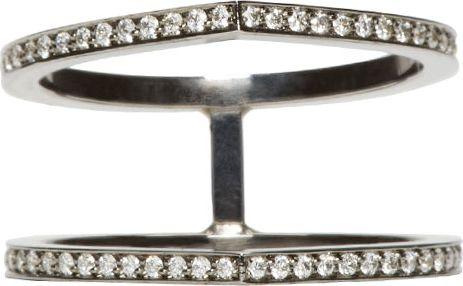 Repossi: Black Gold Pavé Diamond Double Antifer Ring | SSENSE