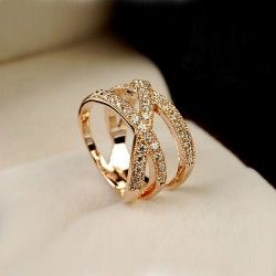 Plated 18K Gold CZ Intertwined Triple Band Ring
