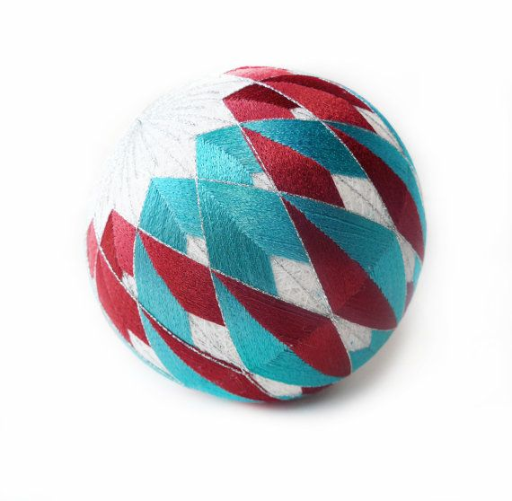 VINTAGE Awesome Temari Ball , Embroidering Thread Ball , Japanese Art Ball , Modern Geometric Design , Multicolored , Hand Crafted , White , Blue , Red , Silver Colors , XL size Temari is an ancient form of Japanese culture and the traditional Japanese art of embroidering thread balls. Originally childrens toys, they became a precious needlework / embroidered them with silk and competed in refined designs. Today temari serve highly valued and cherished gift , treasured as wedding and…