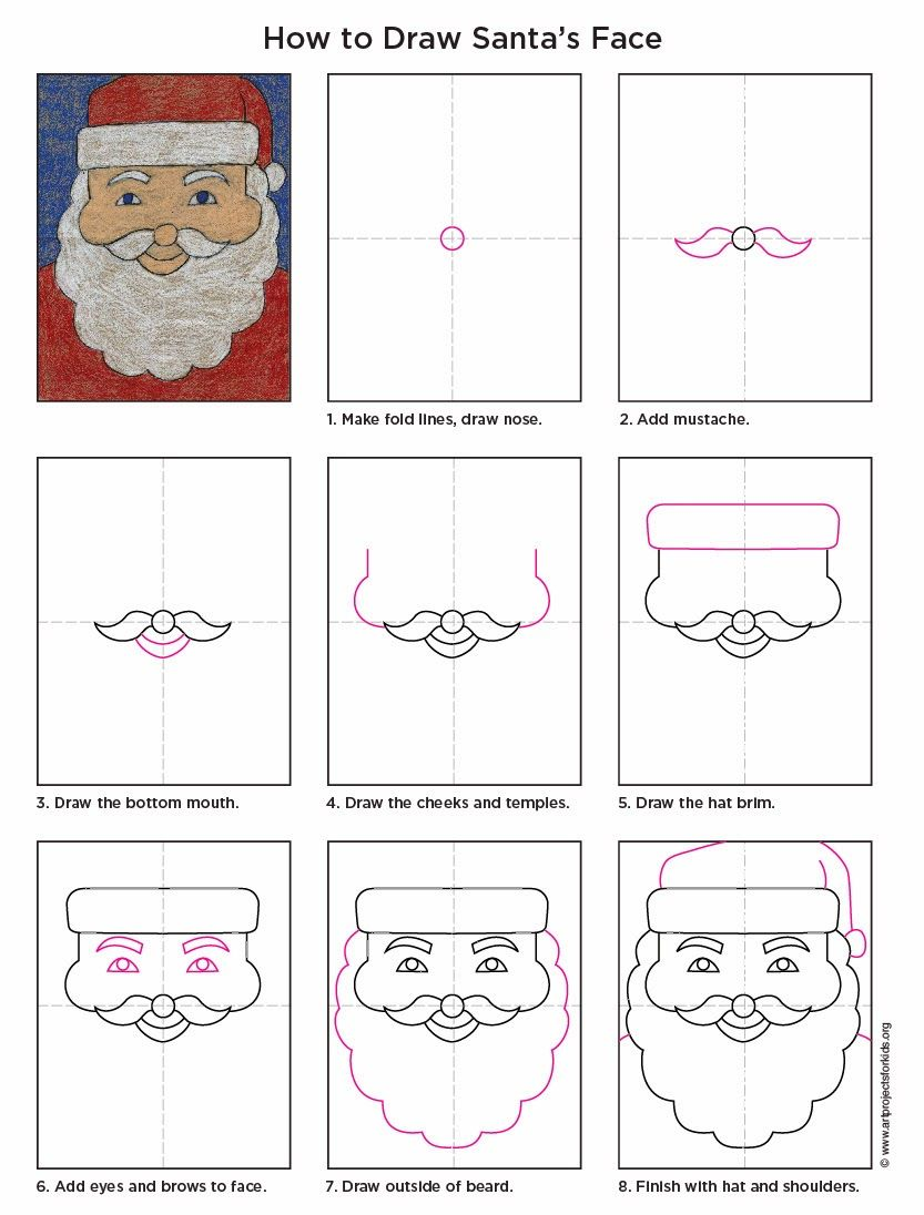 Draw Santa Claus Christmas art projects, How to draw