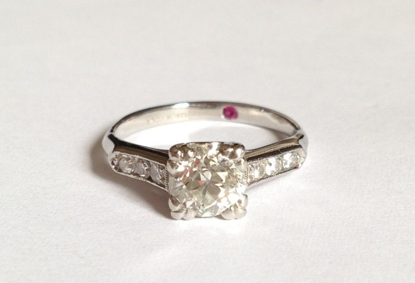 Vintage Engagement Ring With Red Ruby Inside The Band To Symbolize