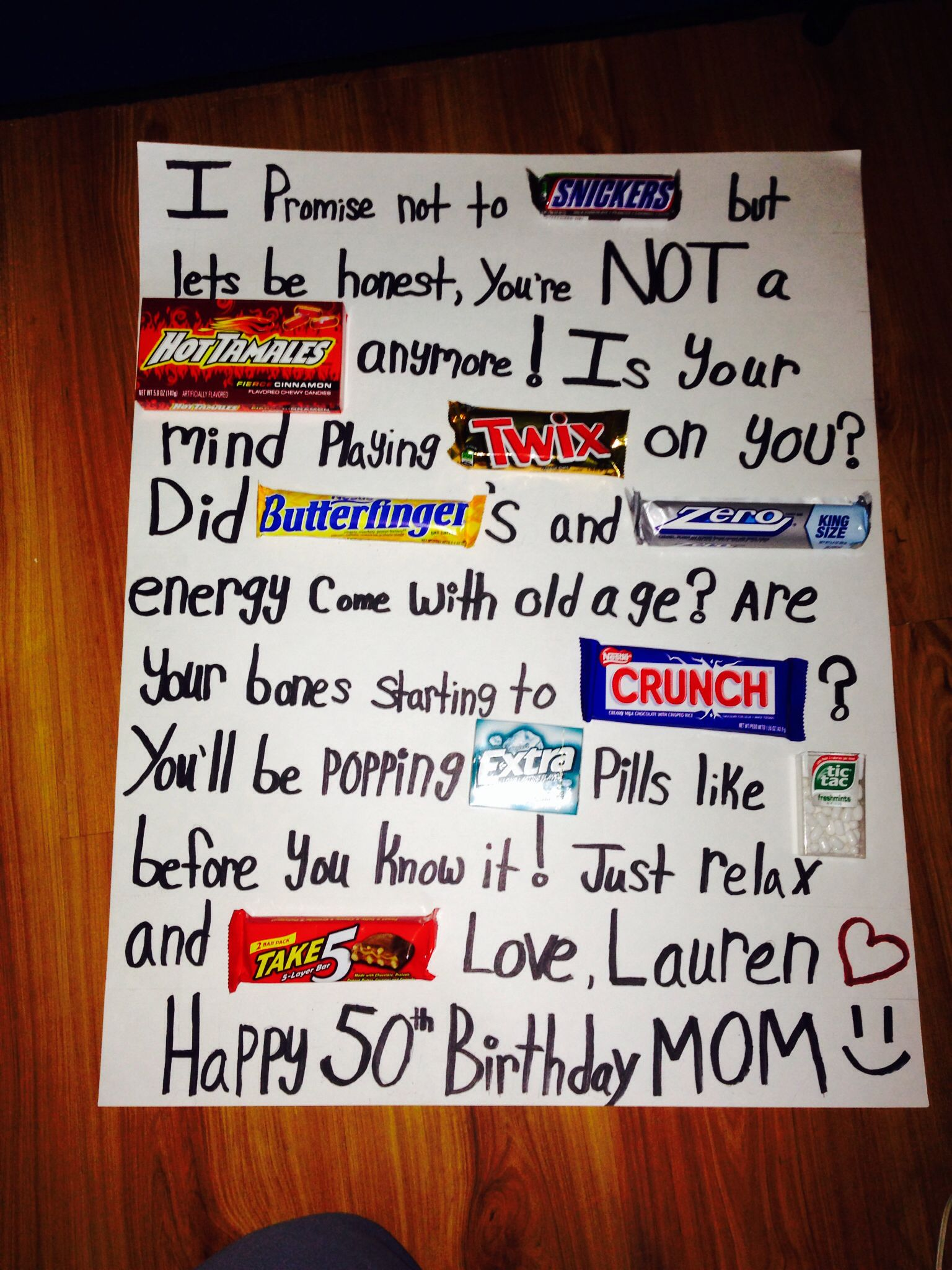 Th birthday candy poster board so cute and easy comanus bday