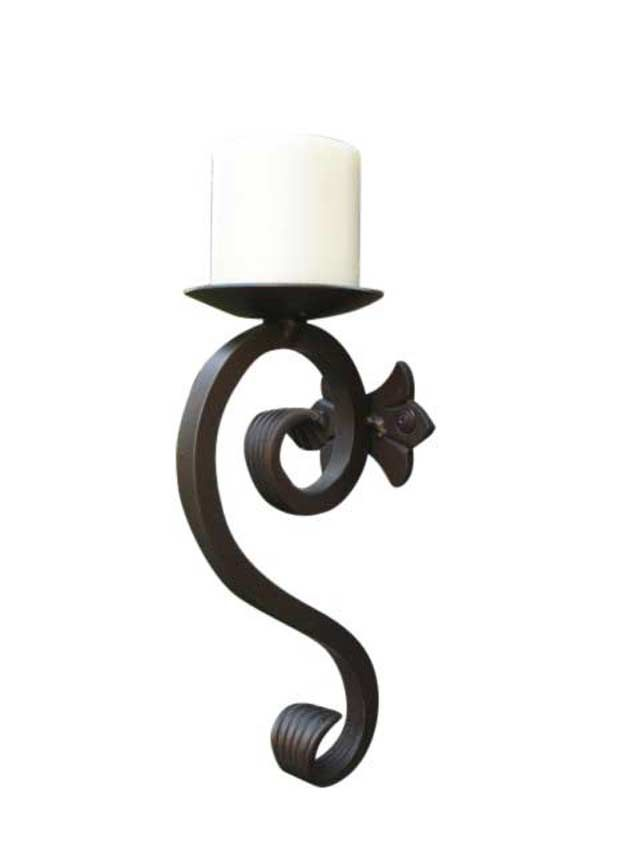Candle Sconce-Iron Hand Forged   Wireless wall sconce ... on Vintage Wall Sconce Candle Holder Decorating Ideas id=46785