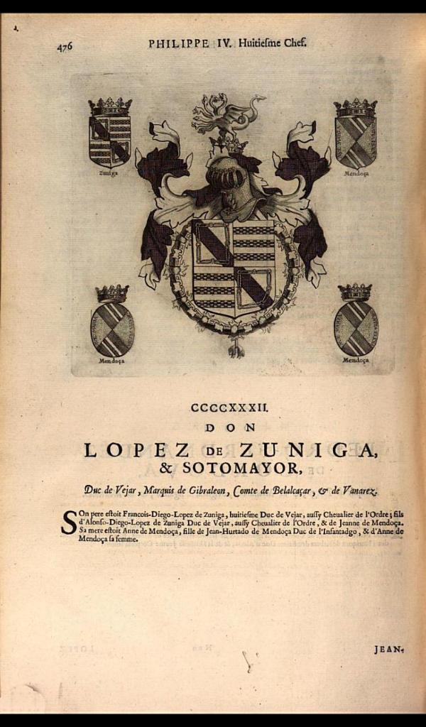 440. 1656; Alonso Lopez de Zuniga, 8th Duke of Béjar (1621-1660).