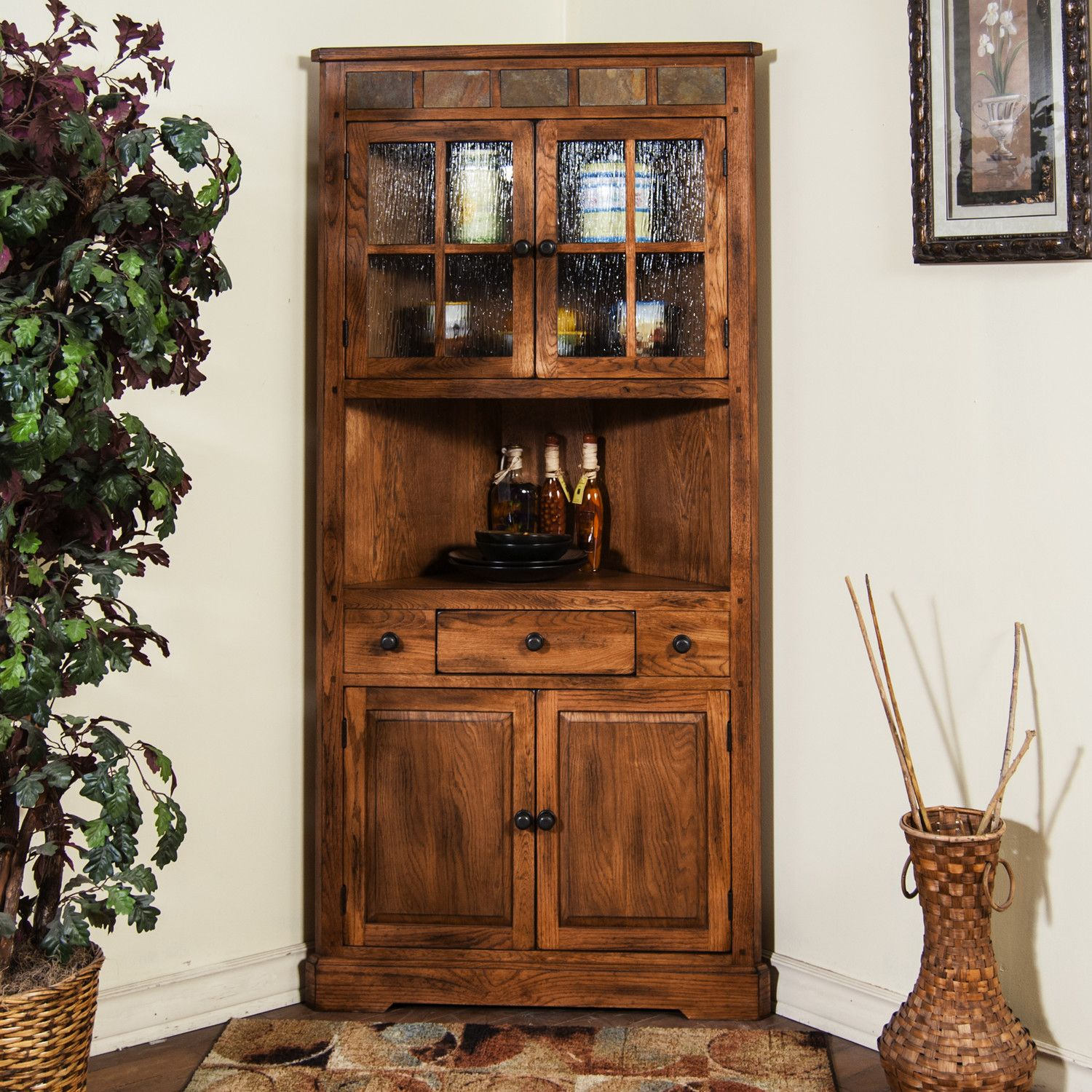 Elegant Corner China Cabinet Hutch
