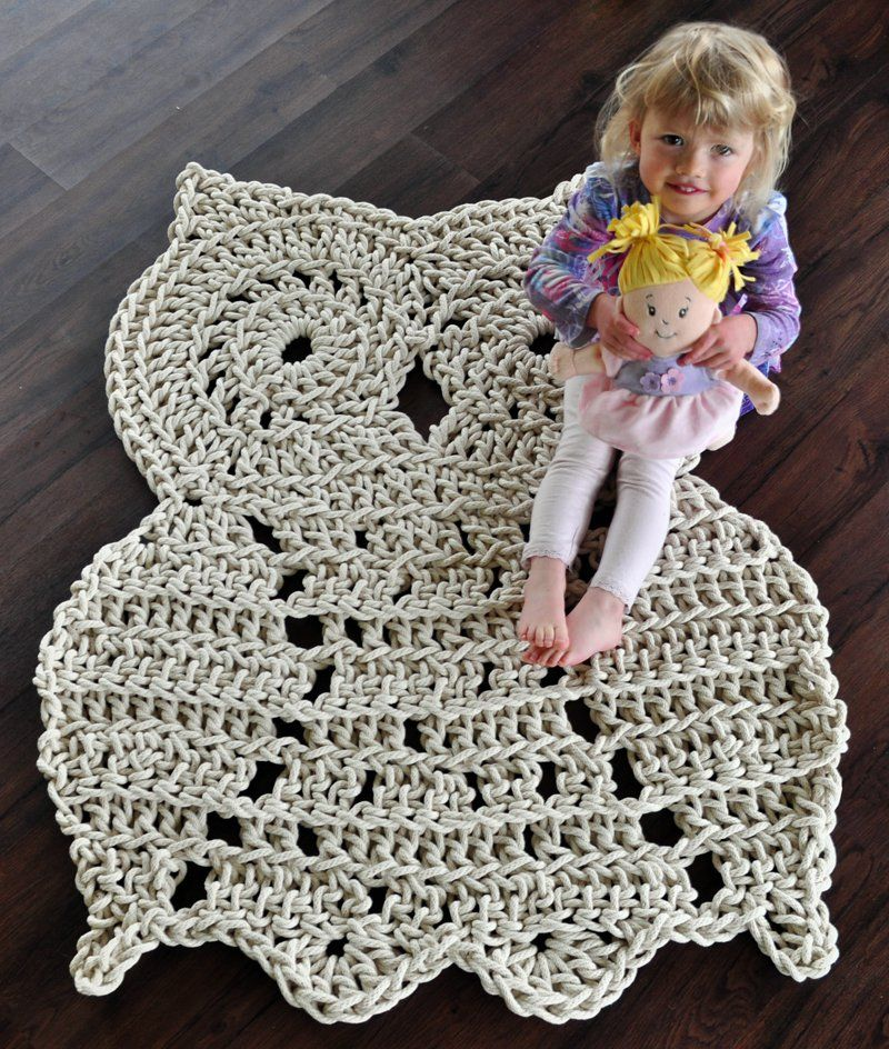11 Cute And Lovely Crochet Rug With Patterns   Rope Owl Rug