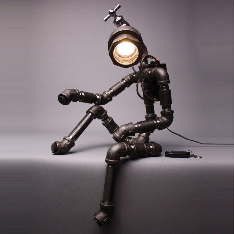 Cyborg r2b desk lamp upcycle pipe art of 602lab handmade fixtures Art Deco  in Collectibles, - Cyborg R2b Desk Lamp Upcycle Pipe Art Of 602lab Handmade Fixtures