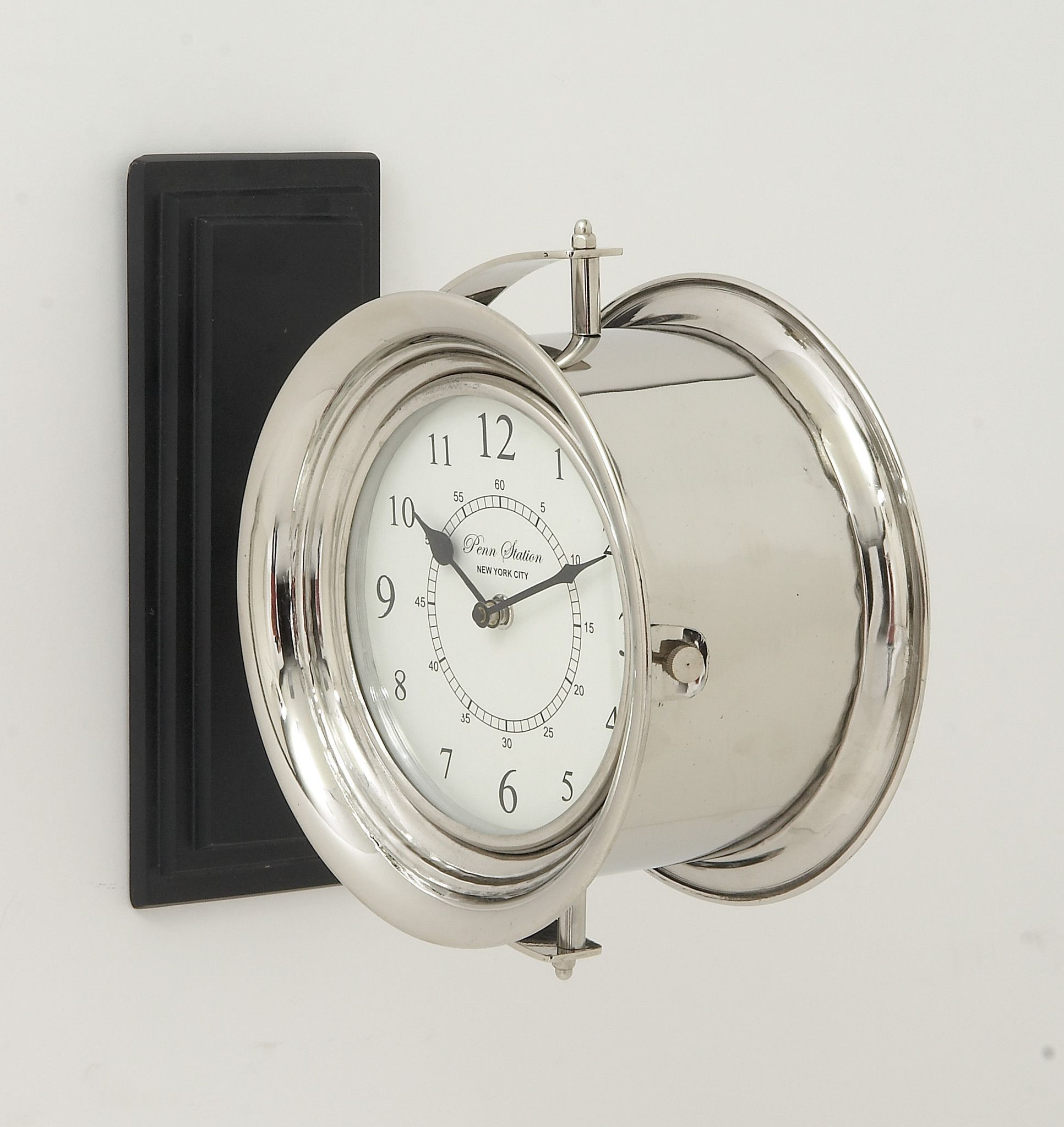 Stylish stainless steel wood double wall clock 12w 12h stylish stainless steel wood double wall clock amipublicfo Gallery
