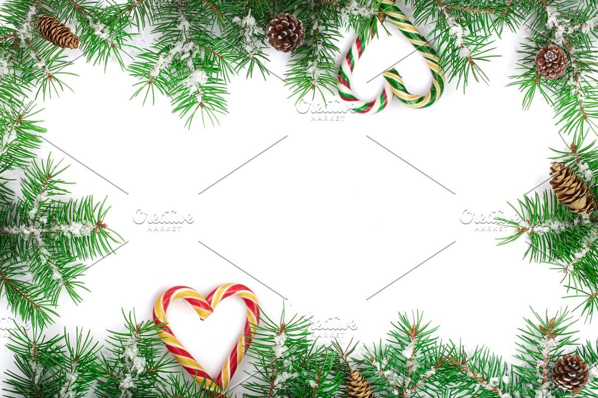 Christmas Frame Of Fir Tree Branch In 2020 Christmas Frames Tree Branches Fir Tree