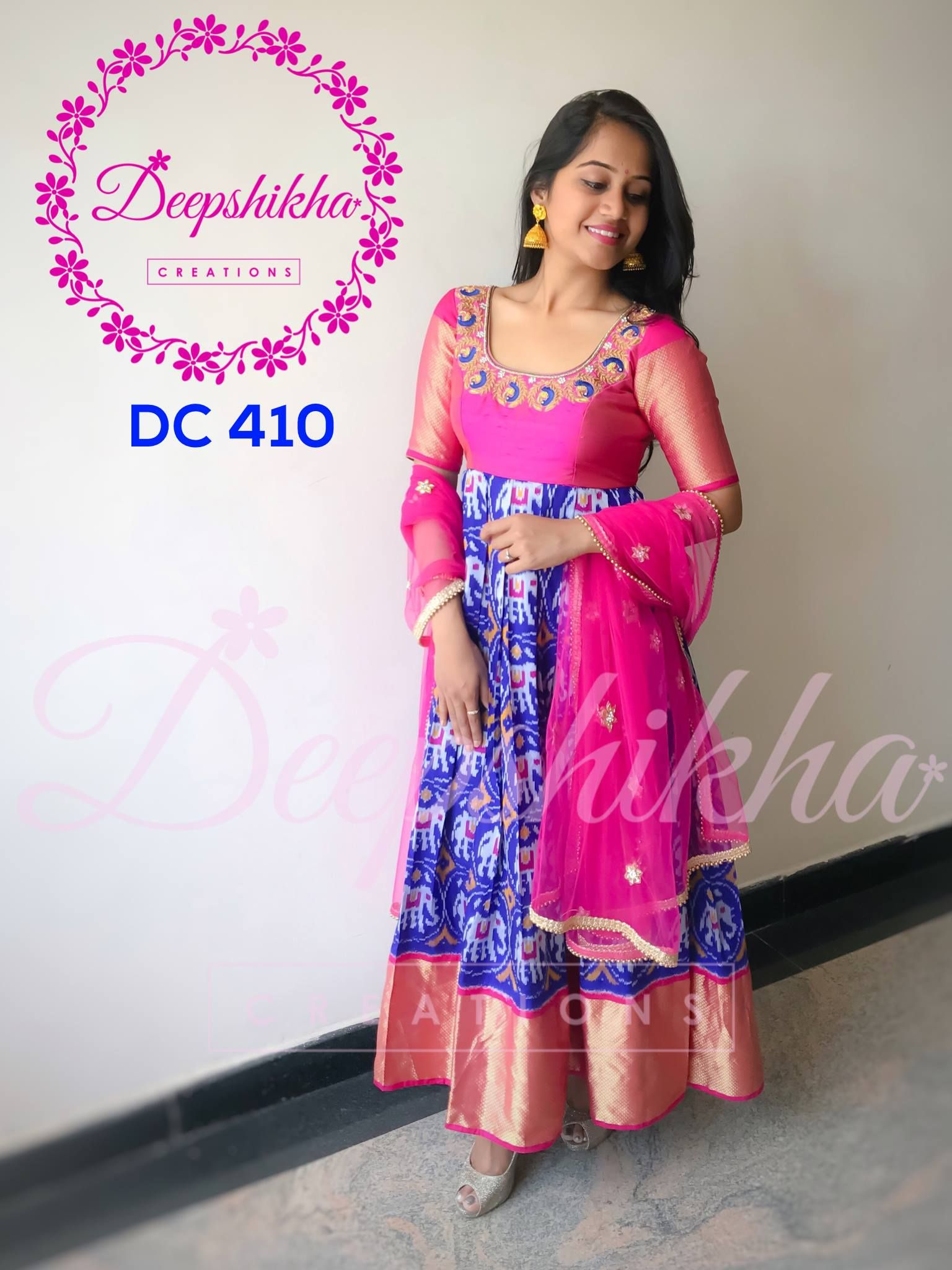 216ffdd7ac Beautiful blue and pink color ikkat floor length anarkali dress with pink  net dupatta.For queries kindly whatsapp : +91 9059683293. 07 September 2017