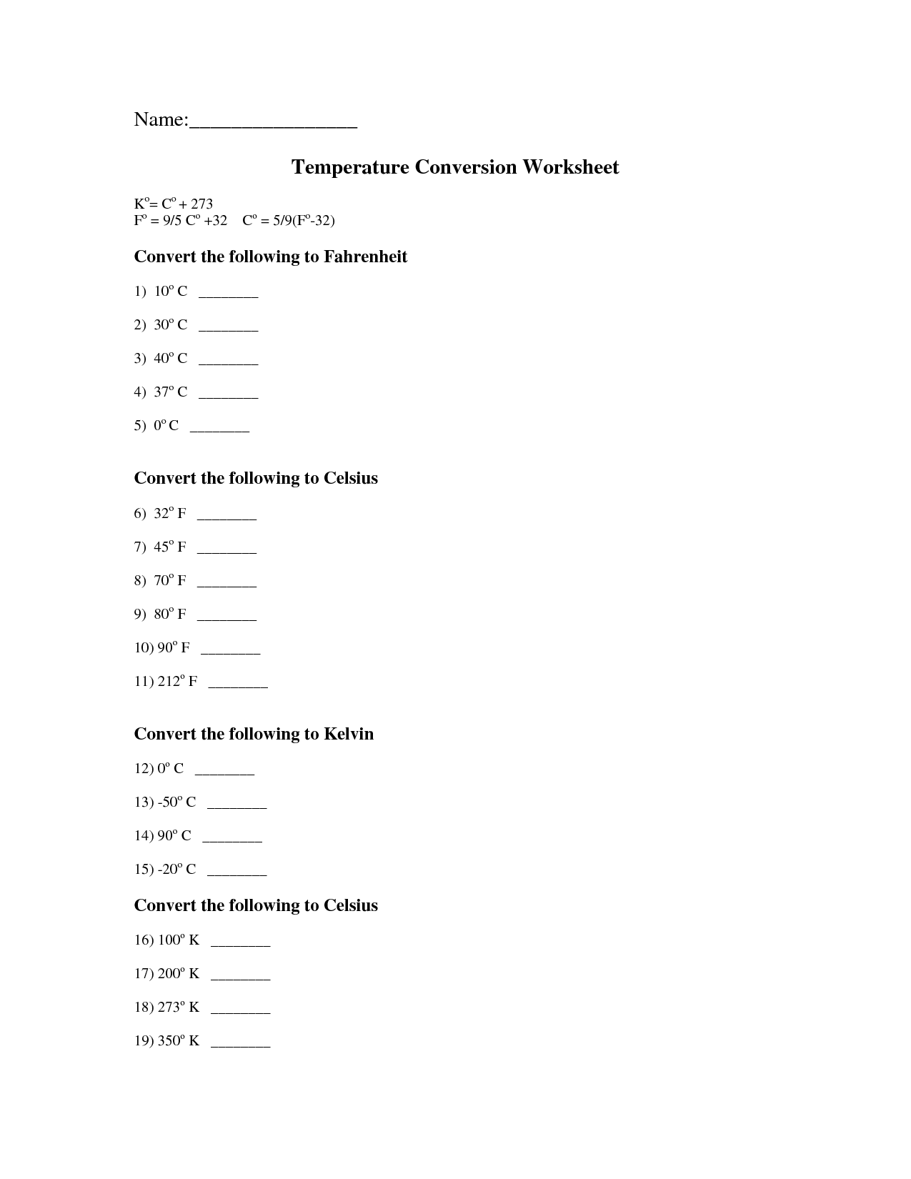 Temperature Conversion Worksheets Answers Worksheets Chemistry Worksheets Money Worksheets