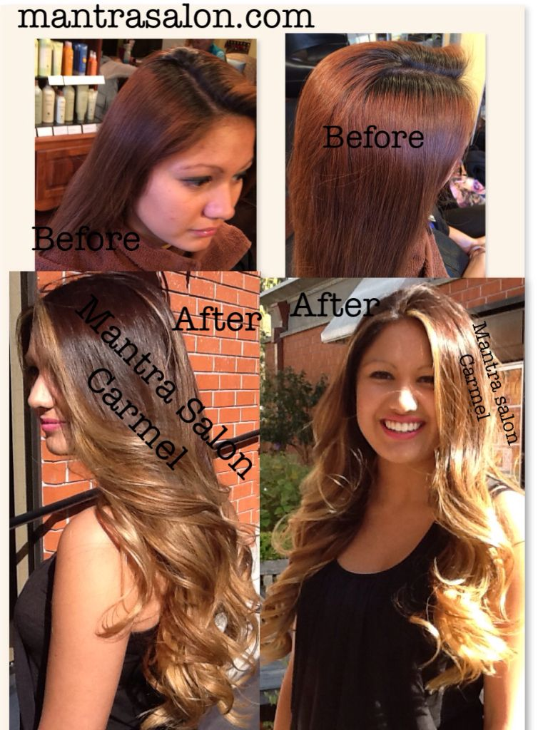 before: dark roots w/ home box red dye, after: chestnut brown-to ...