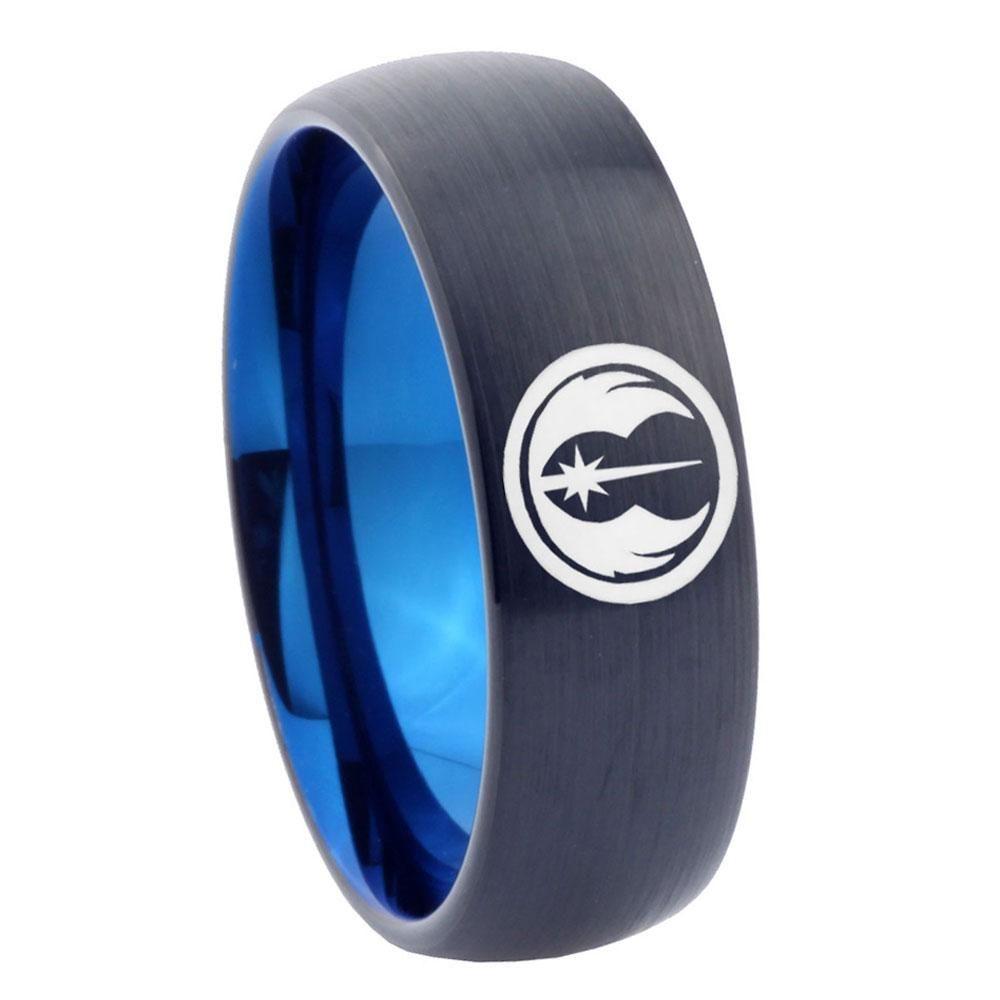8mm jedi dome tungsten carbide blue personalized ring