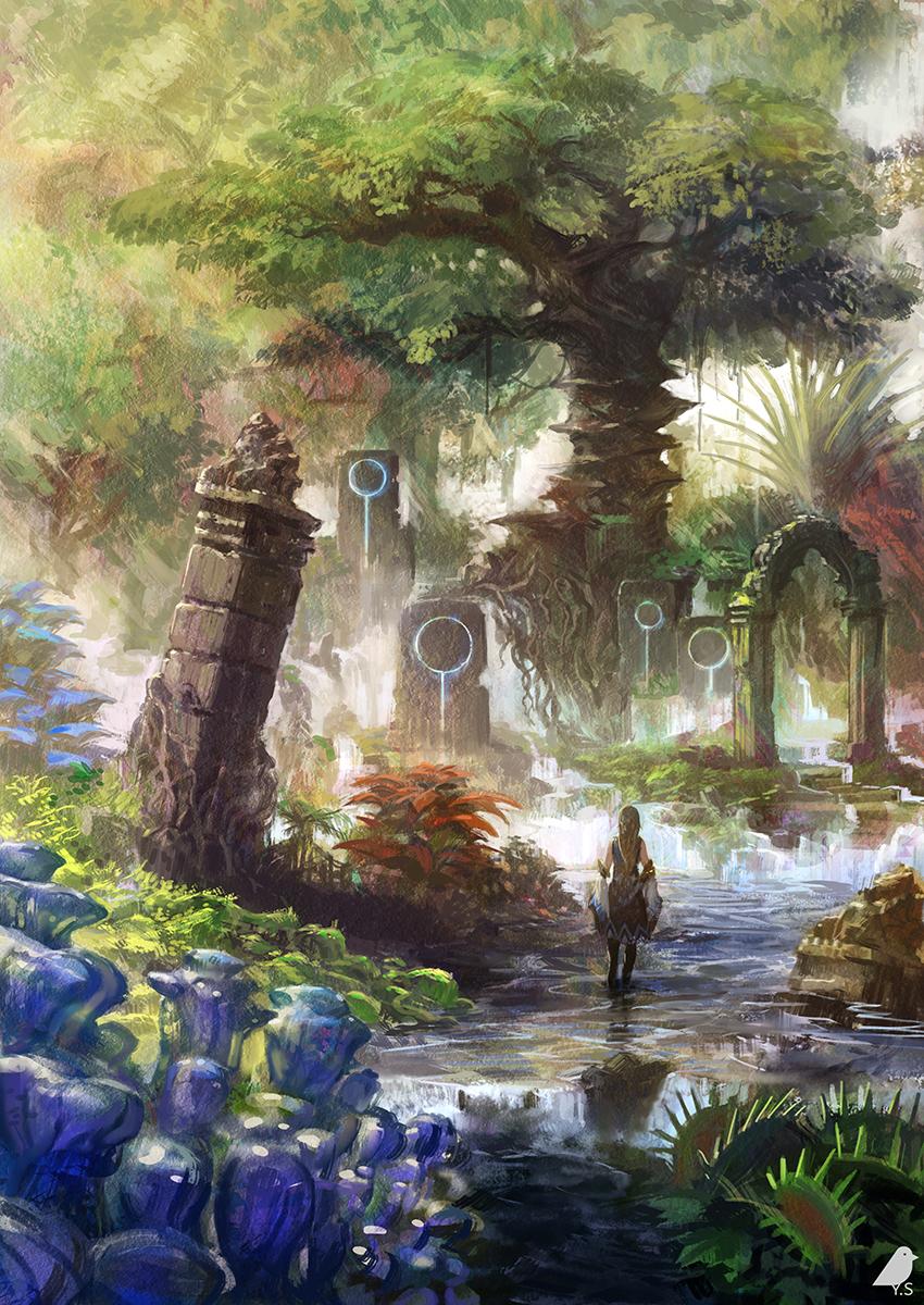 fantasy ruins landscape concept anime pixiv places artwork landscapes shimizu yo underwater fantasty visit castle painting imaginarymindscapes