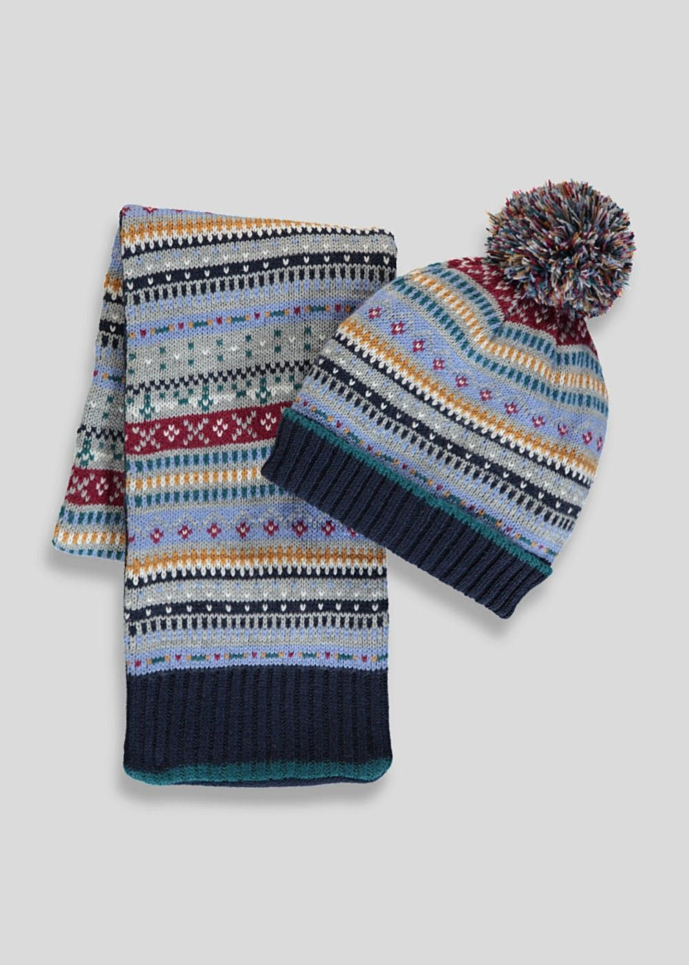 31a42d949d4ae4 ... 73c6acf0 Kids Fair Isle Bobble Hat & Scarf Set (12mths-4yrs) – Navy ...