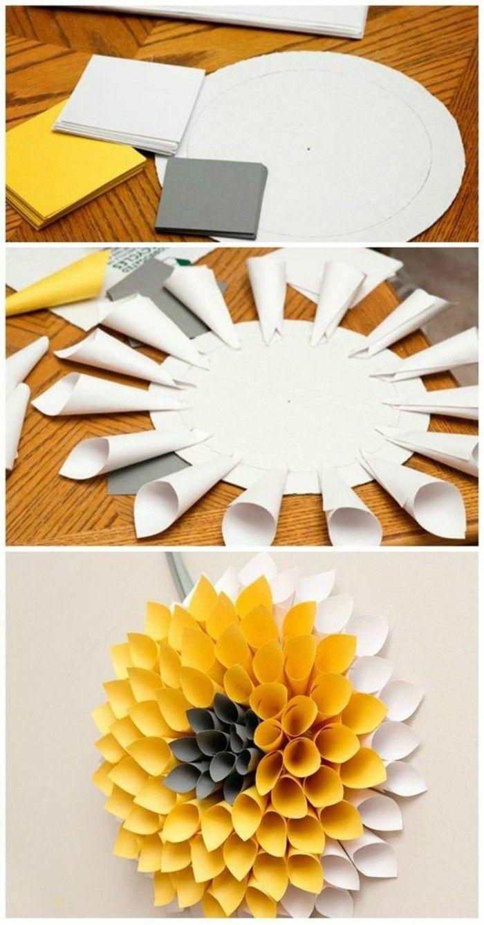 Wanddeko Selber Machen Fruhlingsdeko Basteln Gelbe Blume Aus Papier