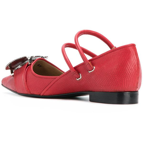 Embelli Toge Pulla Point Orteils Chaussures De Ballerine - Rouge 0AR4QGl