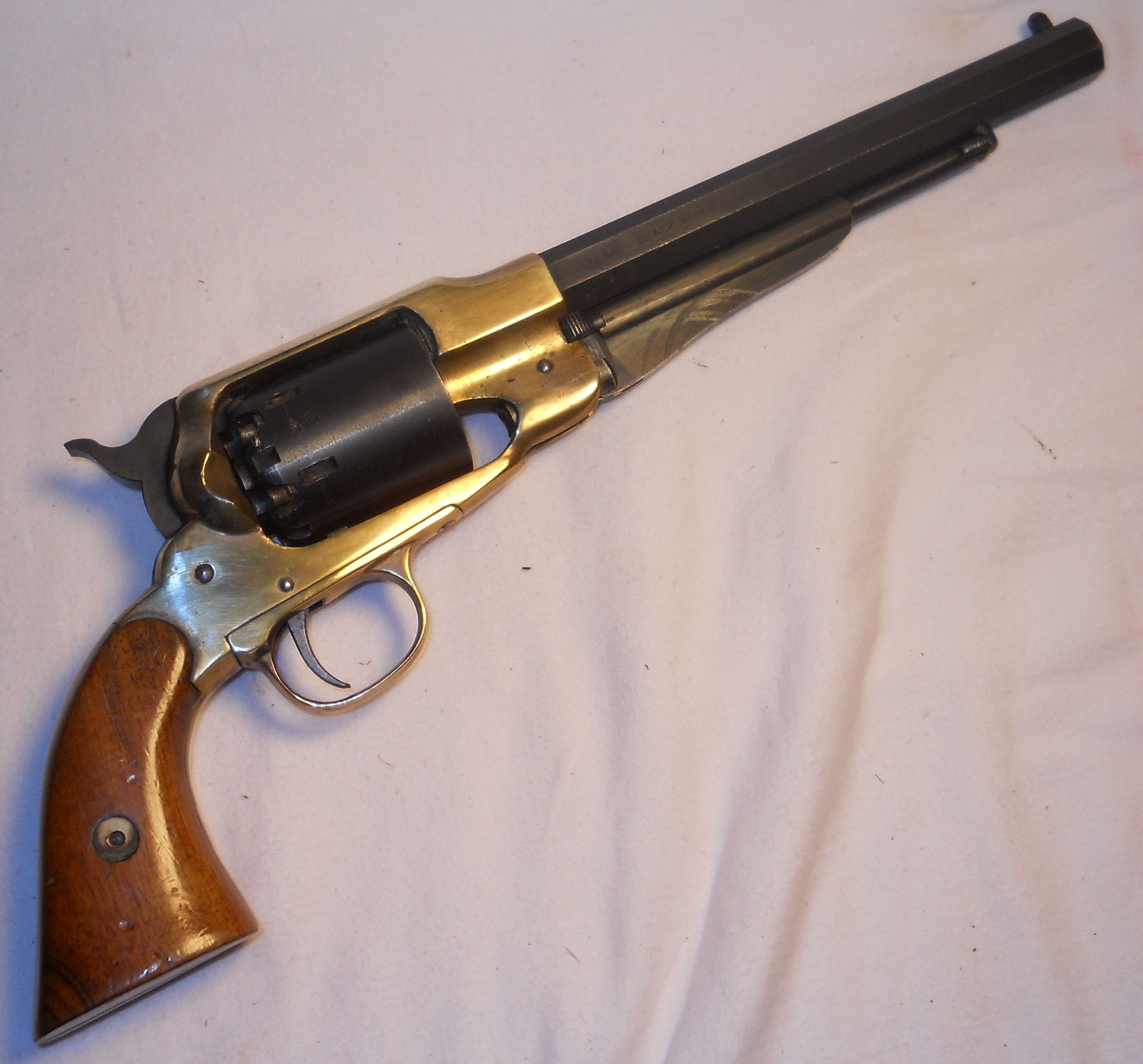 1858 army 44 caliber brass frame black powder pistol i had one and