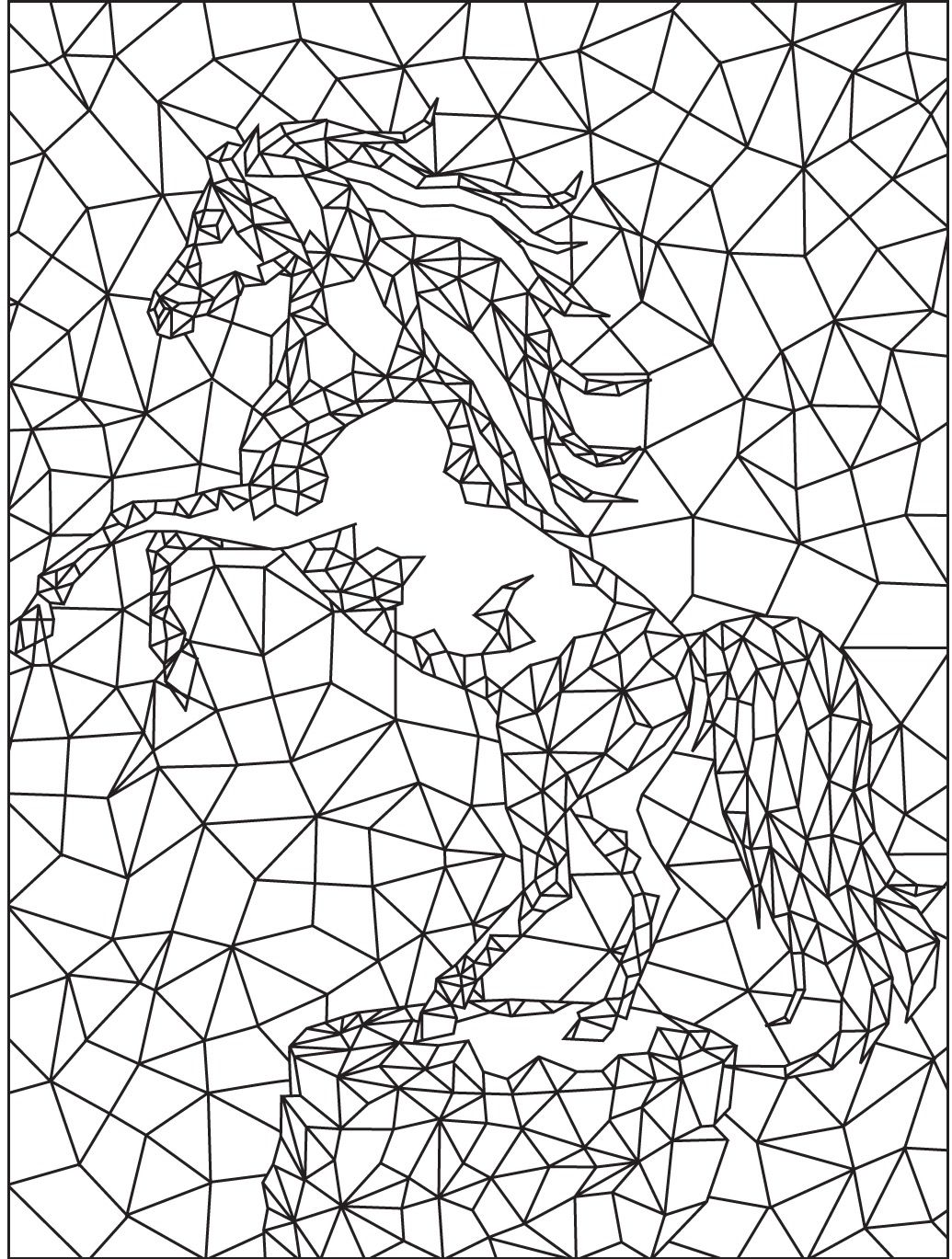 Geometric Horse Colouring Page Colorish App Free Coloring App