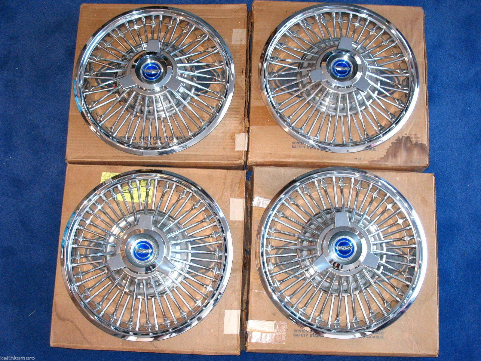 67 Mustang 14 Wire Wheel Hubcaps Spinners C7ZZ 1130 E 65 66 Ford Fastback