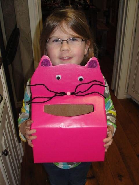 our 2012 easy cat valentines box using kleenex towels box - Cat Valentine Box