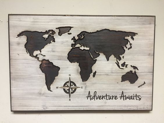 Nursery decor idea wood wall art world map wooden map rustic nursery decor idea wood wall art world map wooden map rustic gumiabroncs Image collections