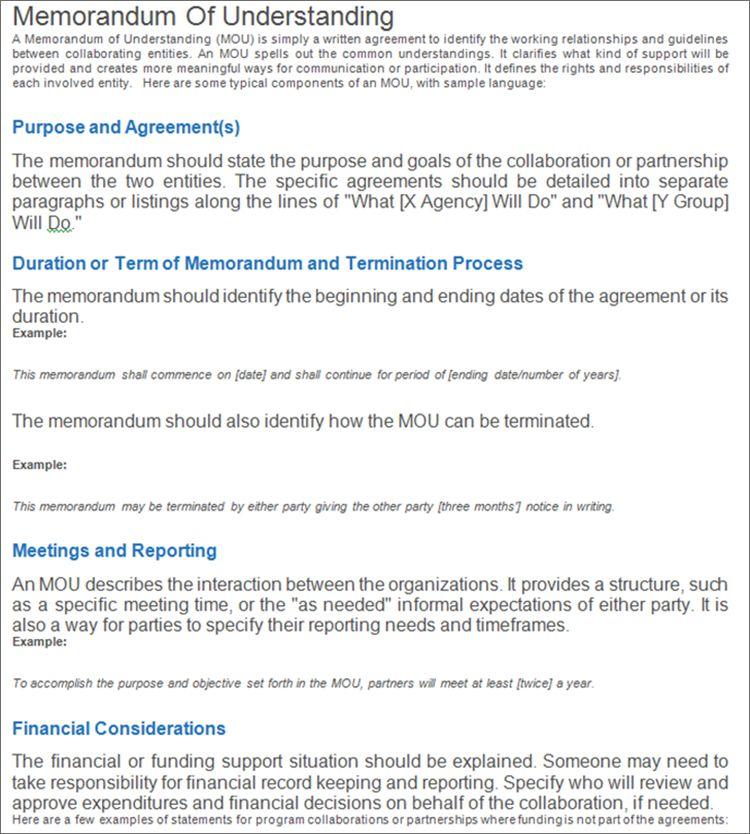 Memorandum Of Understanding Template Jpg 750 834 Memorandum