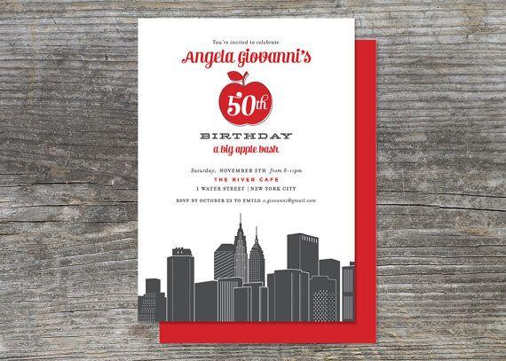 New York Big Apple Party Invitation Digital by brightsideprints – New York Party Invitations
