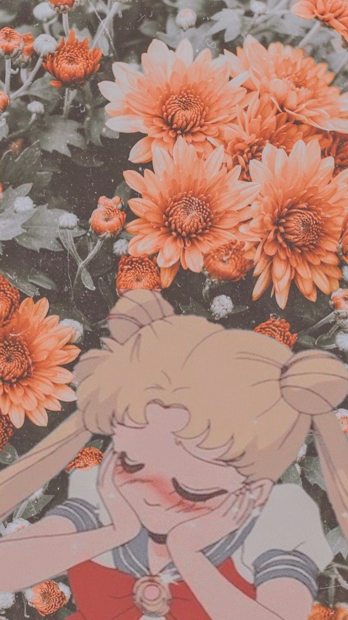Sailor Moon Anime Love Orange Pink Flowers Edit Wallpaper Sailor Moon Aesthetic Anime Anime Wallpaper Anime sailor moon phone wallpaper