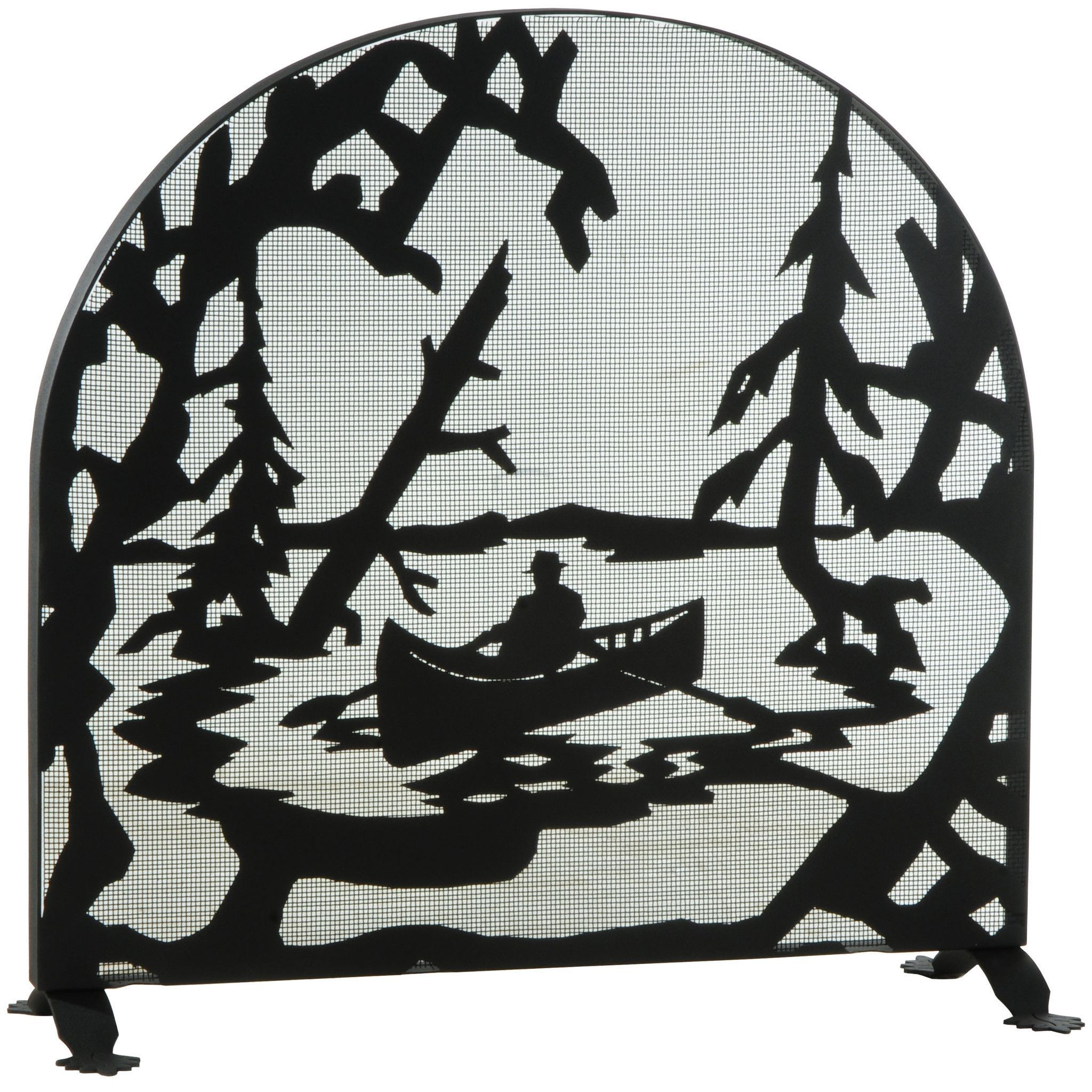 35 inch w x 34 5 inch h canoe at lake arched fireplace screen
