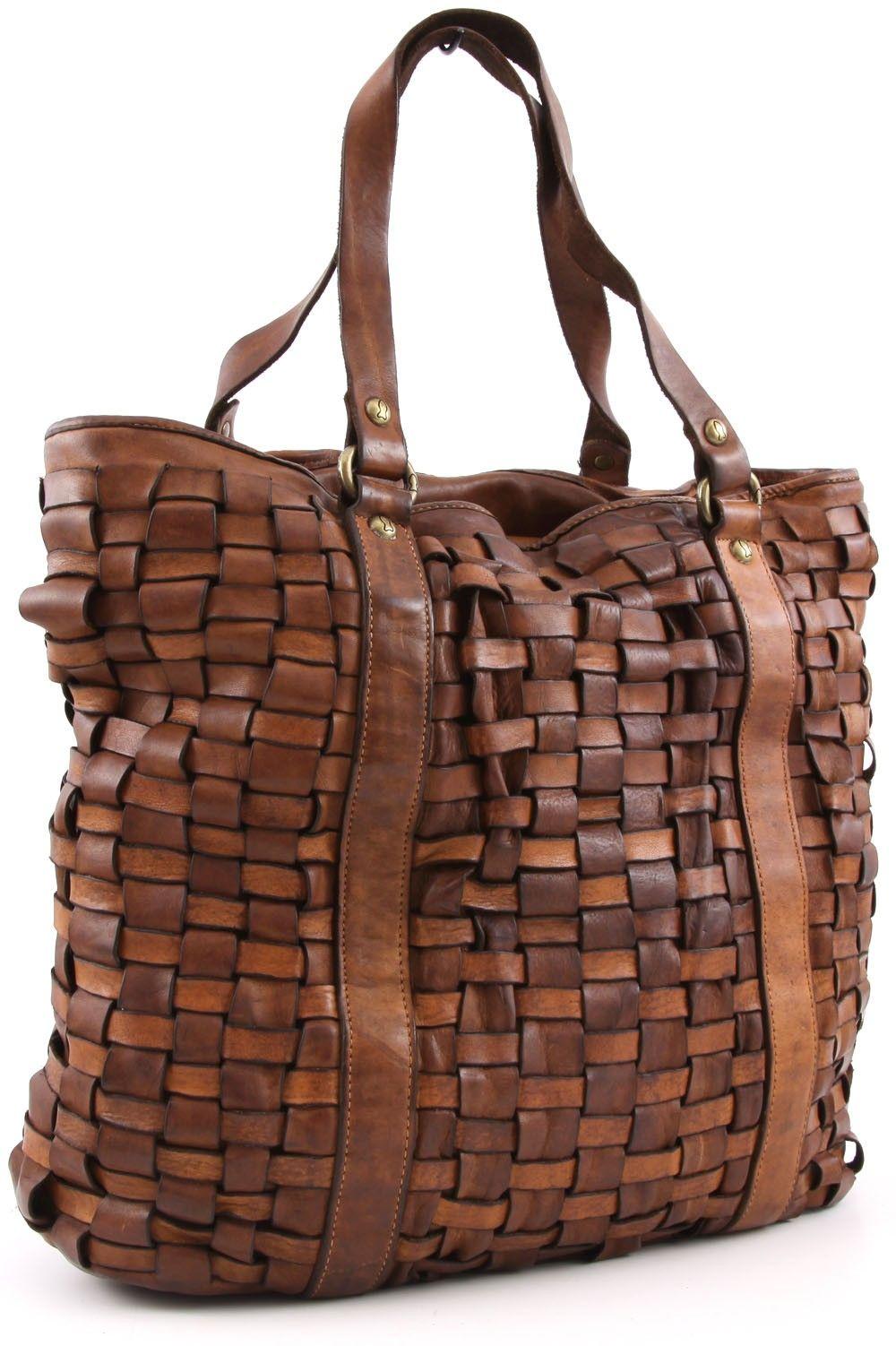 e8198f824679 Campomaggi Intrecciata Tote Leather cognac 42 cm - C1266VL-1702 - Designer  Bags Shop - wardow.com