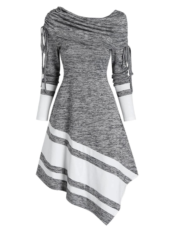 Vestido asimétrico de manga larga con pliegues ceñidos a rayas  – Moda