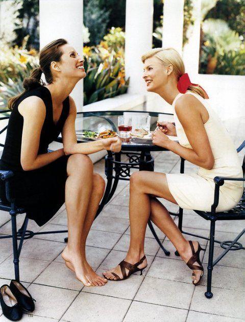 Girl talk. Linda and Christy. Harpers Bazaar May 1995.