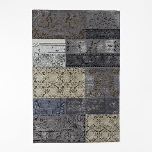 Distressed Cadiz Wool Rug - Platinum | west elm - Home | Pinterest