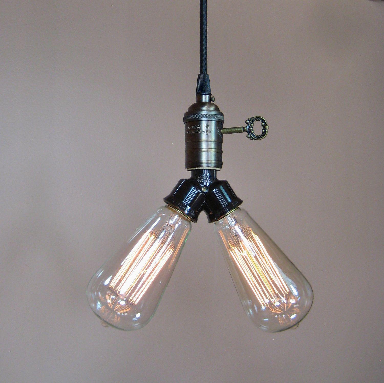 Industrial style pendant light bare bulb twin socket edison