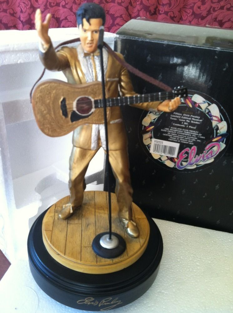 Elvis Presley Limited Edition Music Box Collector Statue Plays Love Me Tender
