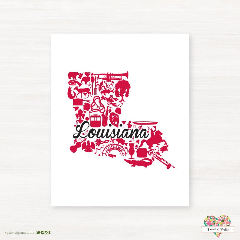 Lafayette, Louisiana Landmark State Giclée Print 8x10