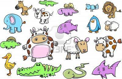 Cute Safari Animal Doodle Sketch Color Vector Illustration Set Doodle Sketch Animal Doodle Animal Doodles