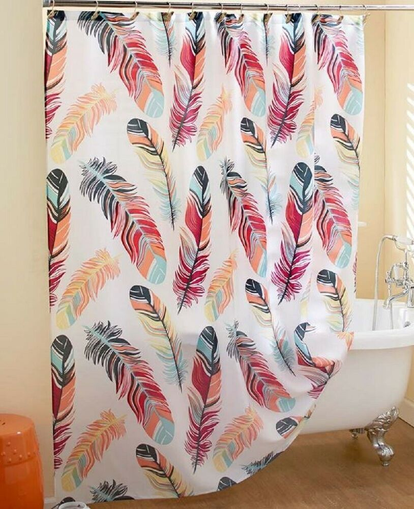 Painted Feathers Shower Curtain Southwest Bathroom Bath Multi