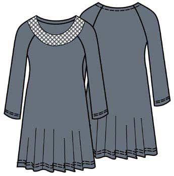Pattern dress with raglan sleeves, sizes 46, 48, 50, 52