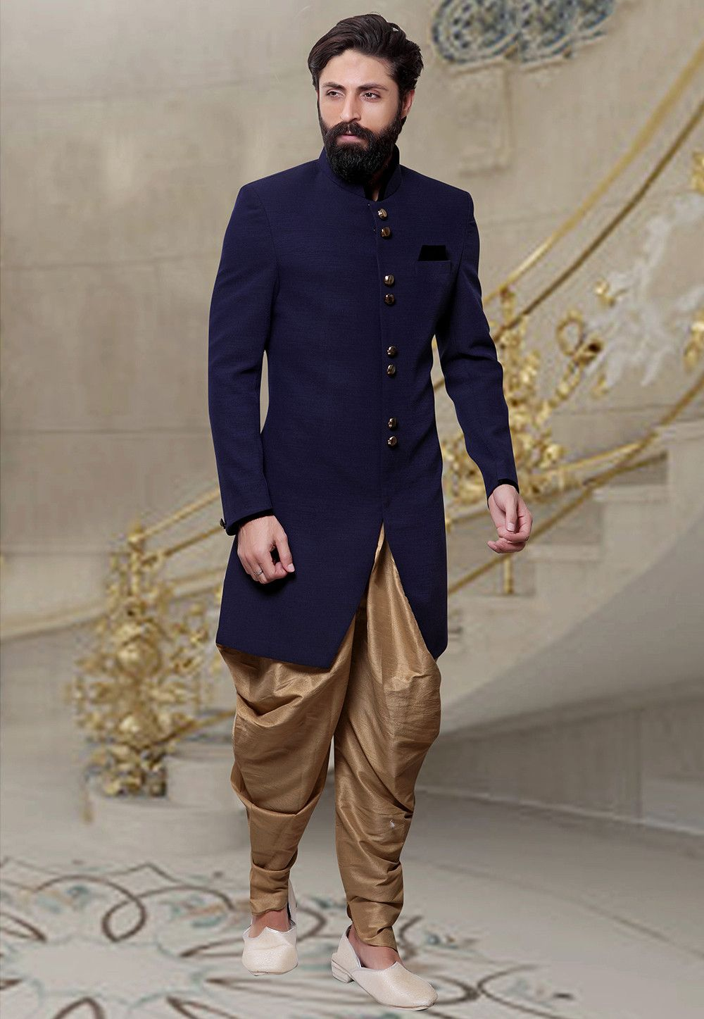 3bb179fc3db4 Readymade Khadi Sherwani in Navy Blue This Plain attire is Enhanced with  Buttons Available with a Beige Art Silk Dhoti Pant Do note: Footwear shown  in the ...