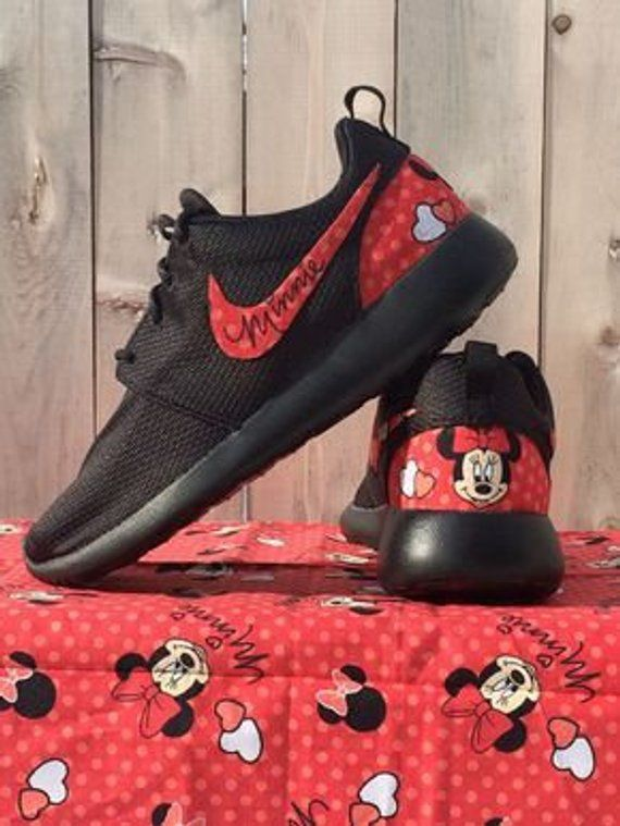 012821888b90 RED Minnie Mouse Custom Nike Roshe in 2019