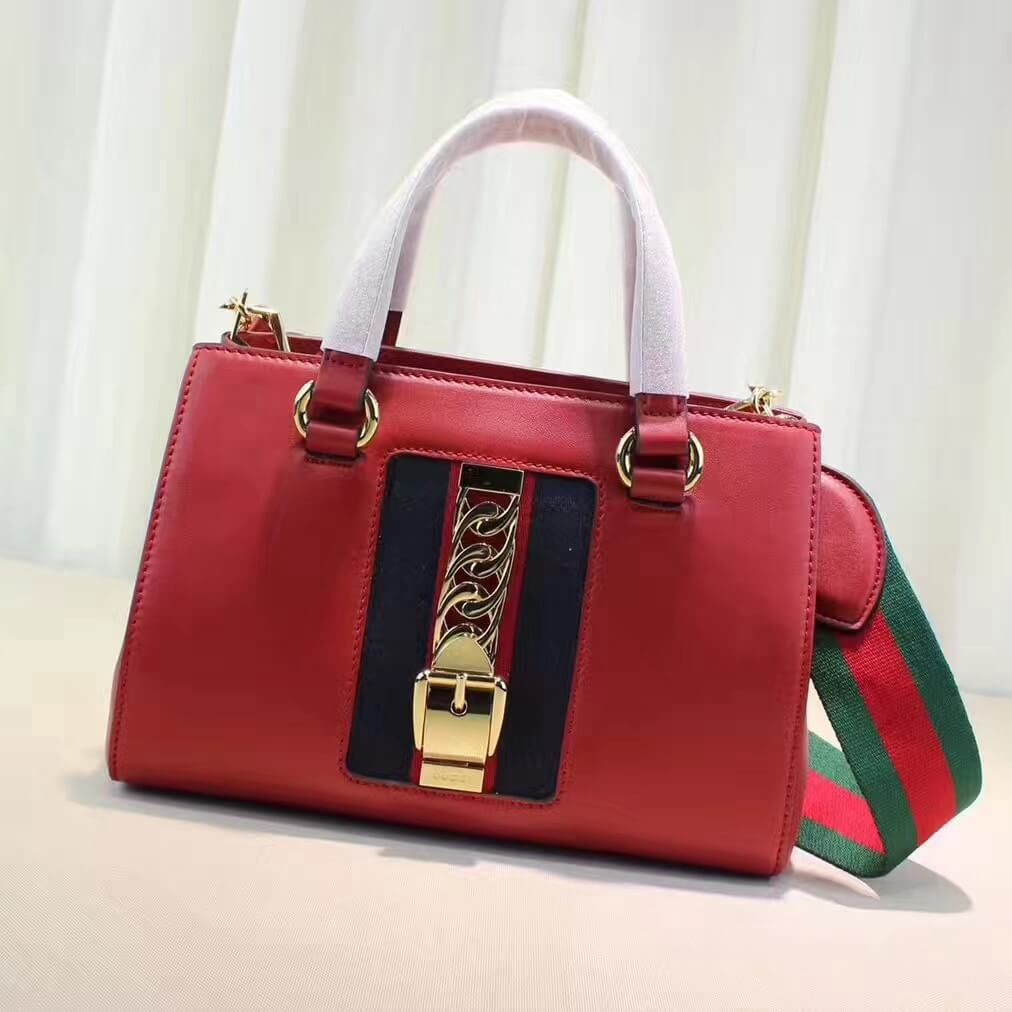 e087dab4854 Gucci Sylvie Leather Small Top Handle Bag 460381 Red 2017