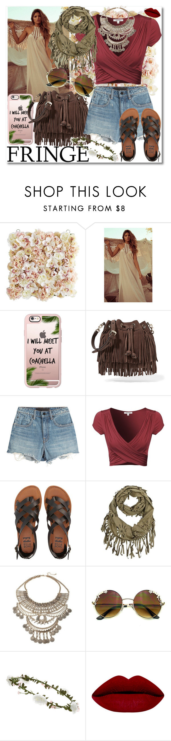 """""""catch ya at coachella."""" by rach-is-a-fashion-major ❤ liked on Polyvore featuring Pier 1 Imports, Casetify, Rebecca Minkoff, Alexander Wang, Billabong, Accessorize, fringe, boho, festival and coachella"""