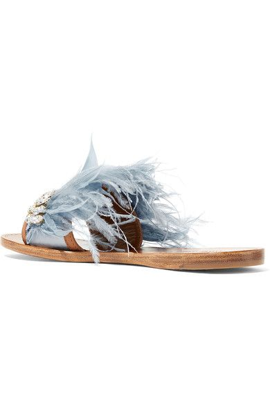 3ee1e399e1f Miu Miu - Swarovski Crystal And Feather-embellished Satin And Leather  Slides - Sky blue - IT39