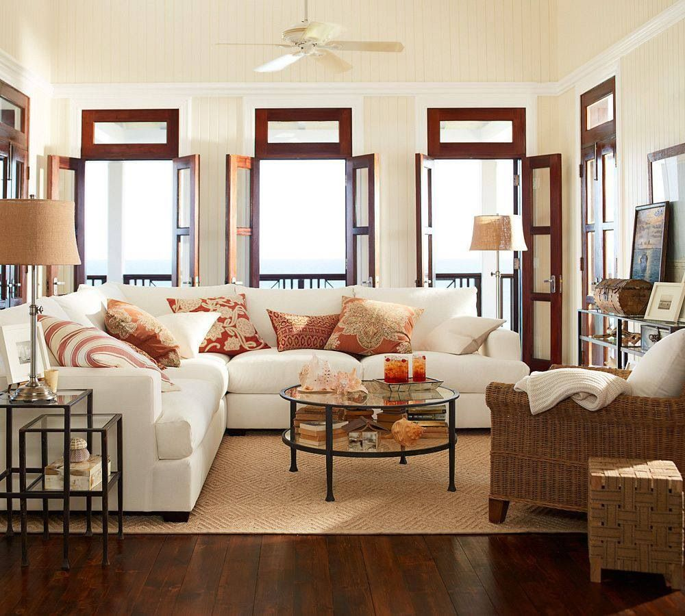 Pottery Barn Living Room With Carpet And Decorative Plant: Love This Pottery Barn Room!