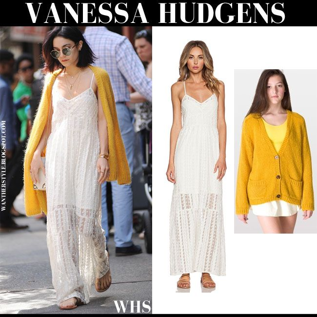 Vanessa Hudgens in ivory lace crochet maxi slip dress with mustard ...