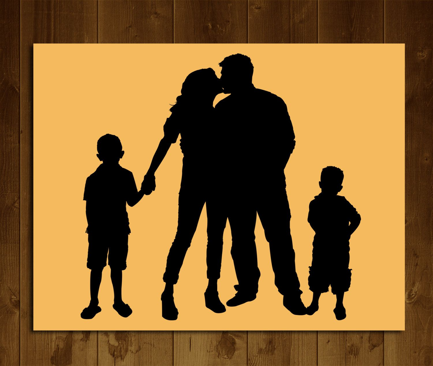 Custom Family Silhouette 4 people from your photo Printable 8x10 ...